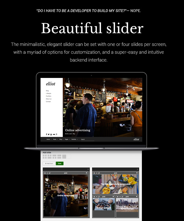 Elliot WordPress theme - Beatiful slider