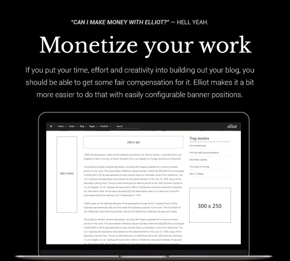 Elliot WordPress theme - Monetize your work