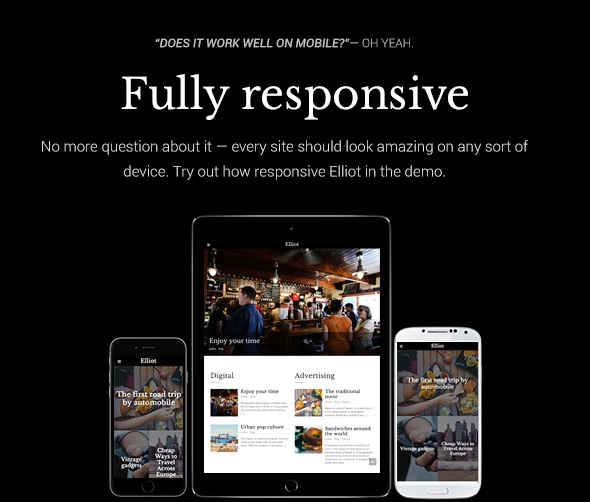 Elliot WordPress theme - Fully responsive